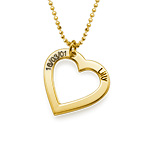 18k Gold Plated Sterling Silver Engraved Heart Necklace