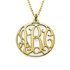 18k Gold Plated Personalized Circle Monogram Necklace