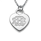 Engraved Monogram Heart Necklace