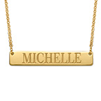 24k Gold Plated Engraved Bar Necklace