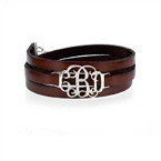Leather Wrap Bracelet - Monogram