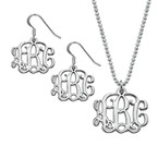 Mix and Match Small Monogram Necklace and Earrings Set