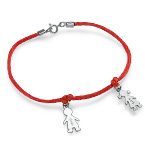 Sterling Silver Mother's Bracelet with Engraved Children Charms