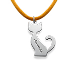 Personalized Cat Necklace in Silver