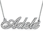 Personalized Diamonds and 14k White Gold Name Necklace