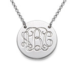 Sterling Silver Disc Necklace - Monogram