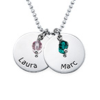 Mother's Day Jewelry - Personalized Disc Necklace With Birthstones