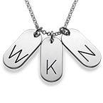 Sterling Silver Multiple Bar Initials Necklace