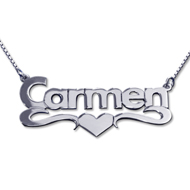 14k White Gold Print Heart Name Necklace