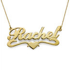 18k Gold-Plated Middle Heart Name Necklace