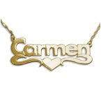 14k Gold Print Heart Name Necklace