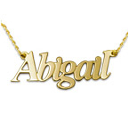 Personalized Double Thickness 14k Gold Name Necklace