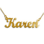 Double Thickness 14k Gold Script Style Name Necklace