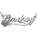 Double Thickness Side Heart Silver Name Necklace With Rollo Chain