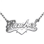 Double Thick Sterling Silver Heart Name Necklace With Rollo Chain